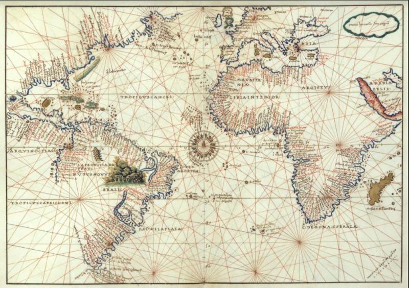 Mapa del Océano Atlántico, por Battista Agnese, 1544.JPG