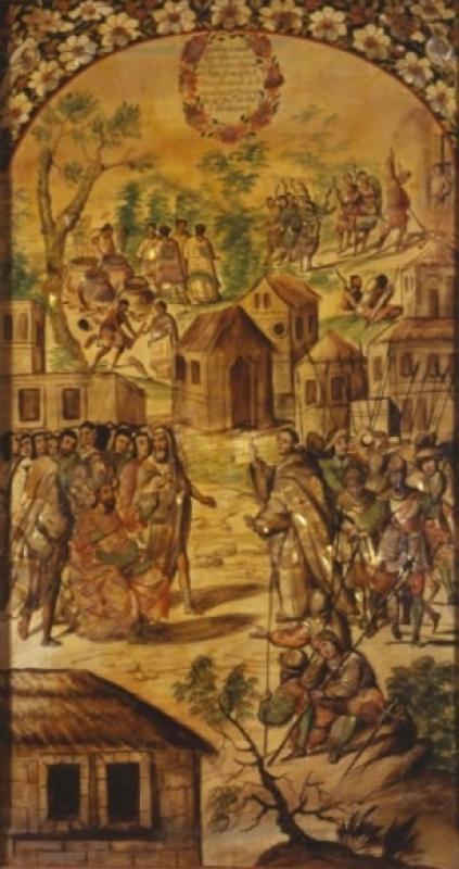 Conquista de México. Sacrificios realizados por los indígenas. Castigo a dos indicios. Predicación de Fray Bartolomé de Olmed.jpg