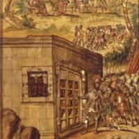 Conquista de México. Coronación del rey Texcoco. Repartición de oro entre soldados y liberación de los indios presos.jpg