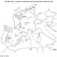 Producción y comercio marítimo internacional de cera hacia 1800.jpg