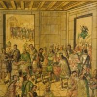 Conquista de México. Reparto de regalos a españoles.jpg